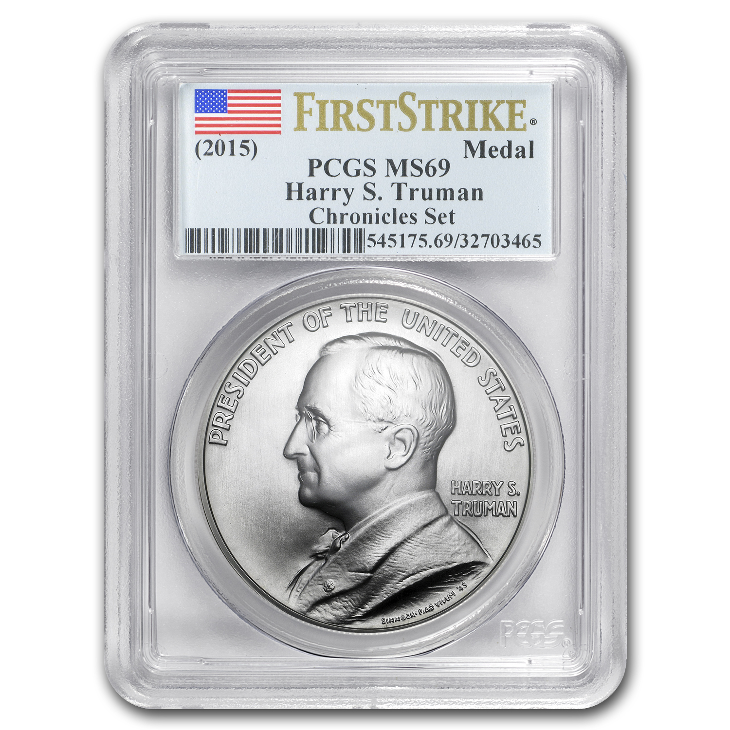 2015 Truman Coin & Chronicles Set PCGS MS-69, PR-69 First Strike
